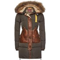 Parajumpers Long Bear Special Down Parka with Fur-Trimmed Hood and Leather Trims