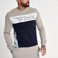 River Island Mens Gola Stone logo panel print sweatshirt