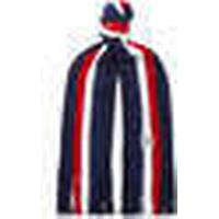 Striped Fringed Virgin Wool Scarf - Navy