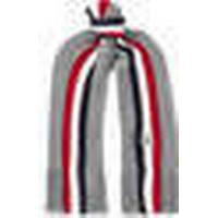 Striped Fringed Virgin Wool Scarf - Gray