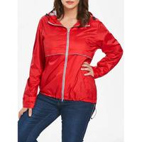 Plus Size Lightweight Hooded Zip-Up Jacket - Red 1x
