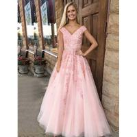 A-Line V-Neck Sweep Train Pink Tulle Prom Dress with Appliqu...