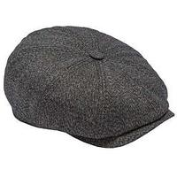 Ted Baker TSPOON Herringbone Flat Cap for Men in Charcoal