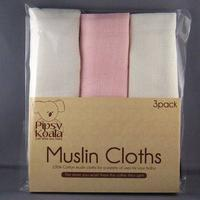 Pipsy Koala Muslin Cloths (White/Pink)