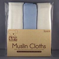 Pipsy Koala Muslin Cloths (White/Blue)