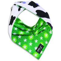 Skibz Doublez Reversible Dribble Bib - Cow Print & Green Stars