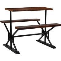 vidaXL Barbord med bänkar massivt återvunnet trä 120x50x107 cm