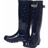 Barbour Ladies Bede Wellington Boots, Navy Print, UK 3