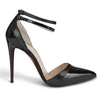 CHRISTIAN LOUBOUTIN Uptown double 100 patent/suede lame blac