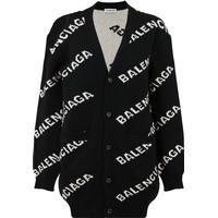 Balenciaga Jacquard Logo Cardigan Black/White