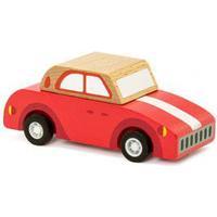 Pull back vintage bil i trä - röd