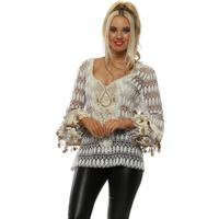Cream & Beige Bead Embellished Fine Knit Top