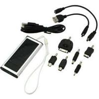 Digibuddy SolarLader / Powerbank Solar/ Eksternt Batteri 5V 1000mAh inklusiv 6-dele adapterst