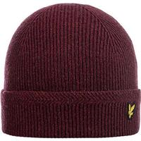 Lyle & Scott Knitted Ribbed Beanie - One Size Bordeaux