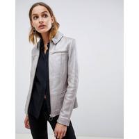 Muubaa Circle Zip Front Metallic Silver Leather Jacket