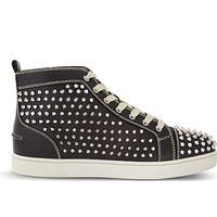 CHRISTIAN LOUBOUTIN Louis flat calf/spikes black/s