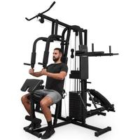 Ultimate Gym 9000 Fitness-station, 7 stationer, 100 kg, viktstapel, svart