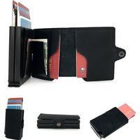 Dubbel square plånbok rfid utkastning kortshållare svart