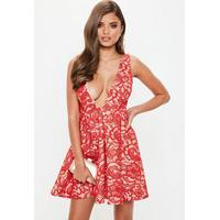 Missguided Premium Red Plunge Sleeveless Lace Skater Dress, Red