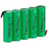 5x AA batteri m/loddeflig NiMH (2100mAh) Tecxus