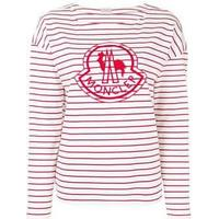 embroidered logo striped top