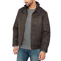Mantaray Big and tall chocolate brown waxed biker jacket