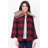 SOY2059-RED CHECK BELL SLEEVE FAUX FUR COLLAR COAT - 10