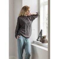 Skjorte med kinakrave Anna Pearl Grey - L