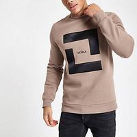 River Island Mens Stone slim fit 'MCMLX' sweatshirt