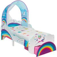 Hello Home Unicorn & Rainbow Toddler Bed with Light up Canopy & Storage Drawer