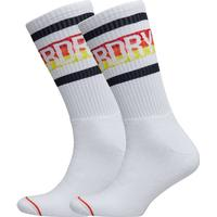 Striped Cali Sock Double Pack Ankelstrumpor Korta Strumpor Vit SUPERDRY