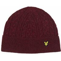 Lyle and Scott Cable Knit Beanie Hat for Men in Burgundy