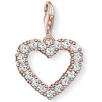 Thomas Sabo Heart Charm Pendant Sterling Silver Rose Gold Plated Earrings w. White Zirconia (1574-416-14)
