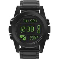 Nixon Sort digital ur i stål med grønt display - Nixon Unit SS All Black/Green A360-032