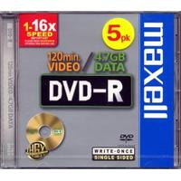 Maxell DVD-R 4.7GB 16x Jewelcase 5-Pack