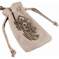 Læder taske til mobil med perler