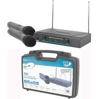 QTX 171.816 QTX två trådlösa handmikrofoner med mottagare 173.8 + 174.8MHz,VHF Dual Handheld 173.8 174.8