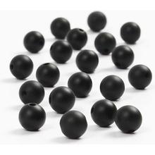 Agatpärlor, dia. 6 mm, hålstl. 0,5 mm, 65 st., svart