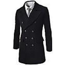 Men's Lapel Collar Double-Breasted Trench Coat