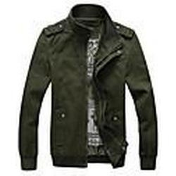 Men's Stand Collar Fashion Pure Color Jacke Coat