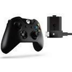 W2V-00011 Xbox One Wireless Controller Play & Charge Kit (Schwarz)