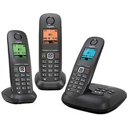 Gigaset Schnurloses Telefon analog A540A Trio Anrufbeantworter, Freisprechen Anthrazit, Schwarz