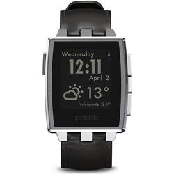 PEBBLE SL SW - Pebble Steel Smartwatch, Leder, schwarz