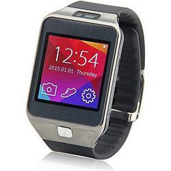 NO.1 G2 1.54 Zoll Gorilla Glass Smartwatch MT2502A 128MB ROM 32MB RAM 2,0MP - Silber - (Schwarzes Uhrenarmband aus Gummi)