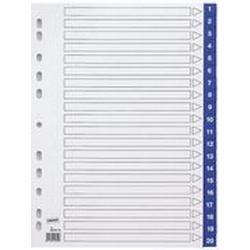 Staples Register, PP, 0,12 mm, 1 - 20, Eurolochung, A4, 20 Blatt, blau