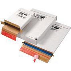 ColomPac Versandkarton, Kurierpaket, Wellpappe, Selbstklebeverschluss, 250 x 353 x 50 mm, innen: 244 x 344 x 45 mm, weiß