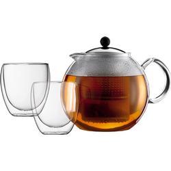 Bodum ASSAM SET Teekanne, 1.5 l, mit 2 Doppelwandige Gläser, 0.25 l Verchromt