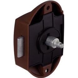 Aufschraub-Riegelschloss mit Schnappriegel, Kunststoff braun 25 mm