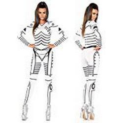 Leg Avenue 86639 / Killer Roboter sexy gedrucktes Catsuit, Damen Karneval Kostüm Fasching, M, weiß/schwarz