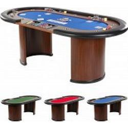 XXL Pokertisch BLAU ROYAL FLUSH, 213 x 106 x 75cm, Casino